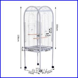 Metal BIRD Cage With 4 Wheels Stand 2 Bowls 2 Wooden Sticks Silver High Quality