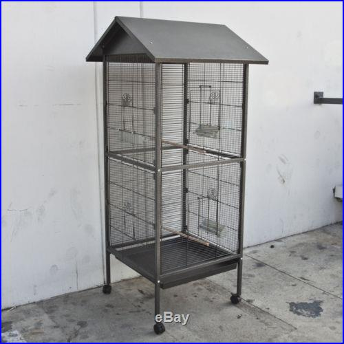NEW Black Bird Cage Pet Parrot Canary Cockatiel Parakeet Finch Crate 4 Feeder