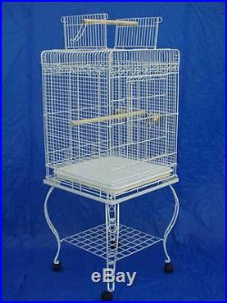 NEW Large Parrot Bird Cage Open Play Top With Stand Wheel 20x20x57H White-128