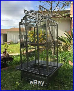 NEW Large Wrought Iron Open Dome Play Top Parrot Macaw Cockatoos Bird Cage 291