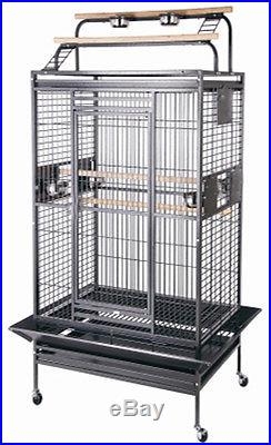 NEW Large Wrought Iron Open Play Top WithDouble Ladders Parrot Macaw Bird Cage-102