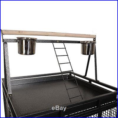 New Bird Cage Large Play Top Parrot Finch Cage Macaw Cockatoo Pet Supplies Black