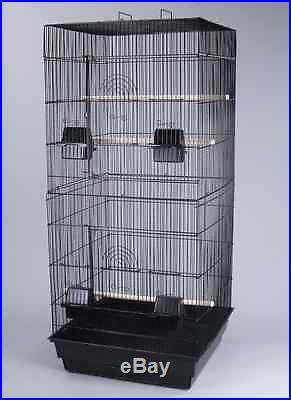 New Large Canary Parakeet Cockatiel Lovebird Finch Bird Cage Black With Stand