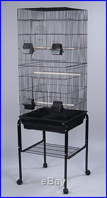 New Large Tall Canary Parakeet Cockatiel Lovebird Finch Bird Cage Black With 344