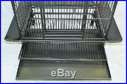 New Large Wrought Iron Bird Cage Parrot Cages Macaw Dome Top 0657 Black Vein-033