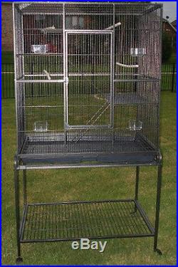 New Large Wrought Iron Flight Canary Bird Cage With Removable Rolling Stand-045