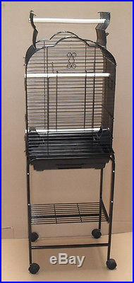 New Open Play Top Small Parrot Cockatiel Bird Cage WithStand Black 1718_T808-113
