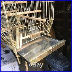 Nice Vintage Art Deco Gold Brass Color Hendryx Metal Bird Cage + Stand Complete