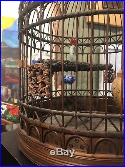 OLD BAMBOO BIRD CAGE Hand Crafted w carvings and dishes