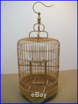 Old Vintage Wood Hand Carved Bird Cage Two Fake Birds Decoration