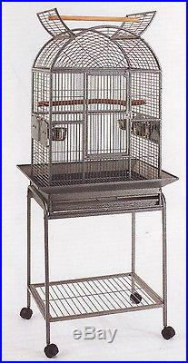 Open Dome Play Top Wrought Iron Bird Small Parrot Cage WithRemovable Stand -121