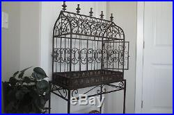 Ornate Bird Cage Large Cathedral Dome Top Vtg Iron Scrolls Base & Stand
