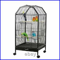 Parakeet Bird Cage with Rolling Stand Metal Pet Bird Flight Cages Large for