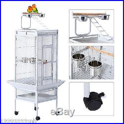 PawHut 61.4 Bird Cage Parrot Finch Feeder Stand Play Top House Perch Bowl Wheel