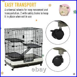 PawHut Compact Platform Easy Rolling Cage for Hamsters, Gerbils, 43 H
