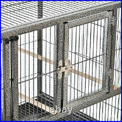 PawHut Double Rolling Bird Cage with Removable Metal Tray and Storage Shelf