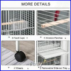 PawHut Metal Bird Cage Feeder for Small and Medium Sized Birds, White