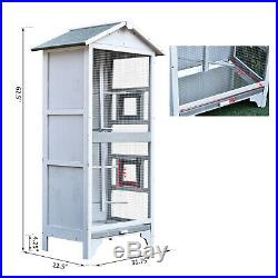 PawHut Wooden Outdoor Aviary Bird Cage Large Play House with removable Bottom tray