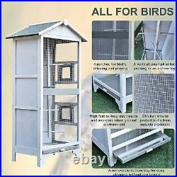 PawHut Wooden Outdoor Bird Cage, Featuring a Large Play House with Removable Bot