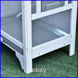 Pawhut 4 Perch Wooden Outdoor Bird Cage Featuring a Large Play House