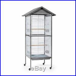 Prevue Charming Aviary Large Flight Cage Pearl Grey 24x24x66in Approx