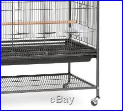 Prevue Pet Products Wrought Iron Flight Bird Cage With Stand Black Large Parrot