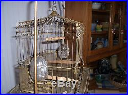 Re- Listed Art Deco Antique Brass Bird Cage with original stand / ORNATE Base