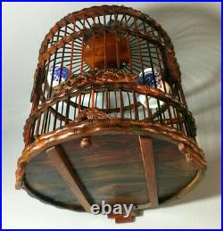 Rosewood Carved Asian Bird Cage Round Chinese Wooden Pet Nest Home