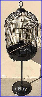 Round Bird Cage with Stand Finch Canary Cockatiel Parakeet Dome Top 420