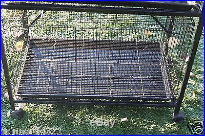 STACKABLE ON WHEELS METAL BIRD CAGE, PARROT, CANARY, GOULDIAN FINCH BREEDERS VGC