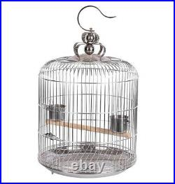 Stainless Steel Bird Round Cage Parrot Travel Carrier Perch