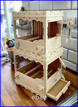 Two Bird Cages Stackable Mule, Finch, Canary Wooden Present