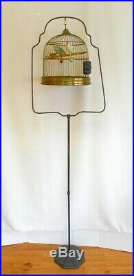 VINTAGE ANTIQUE HENDRYX BIRDCAGE BIRD DOME SHAPED CAGE With STAND & PYRALIN FEEDER