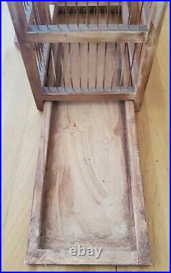 VINTAGE WOODEN BIRD CAGE DOMED CATHEDRAL TAJ MAHAL STYLE -COMPLETE WithFLOOR TRAY