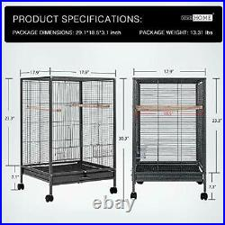 VIVOHOME 30 Inch Height Wrought Iron Bird Cage with Rolling Stand for Parrots