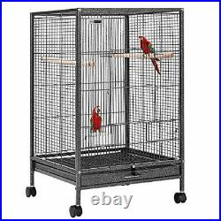 VIVOHOME 30 Inch Height Wrought Iron Bird Cage with Rolling Stand for Parrots Co