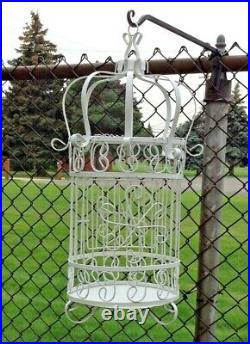 VTG Large Decorative White Metal Wire Bird Cage Dome Floral Wedding