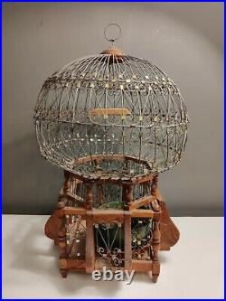 VTG Retro Hand Crafted Tunisian Wooden Metal Bird Cage 57cm Plant Display 70s