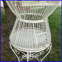 Very Large 6' Iron Bird Cage Vintage Parrot House & Base White Can ship