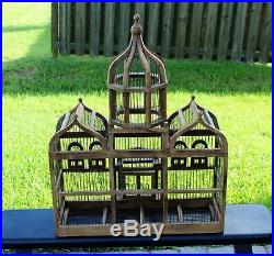 Victorian Large Domed Wooden Bird Cage