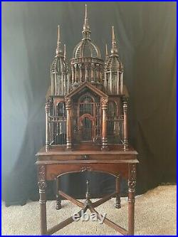 Victorian Style Mahogany Cathedral Style Bird Cage. Vintage