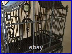 Victorian Wrought Iron Glass Medallion Embellished Pet Bird House Cage
