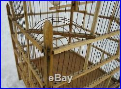 Vintage Antique Hand Crafted Wood and Wire Birdcage Aviary Pet Bird House Cage