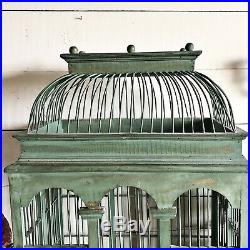 Vintage Antique Large Wooden Bird Cage Dome Lid French Victorian