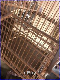 Vintage Asian Style Bamboo Wood Hanging Bird Cage 21x14 Ex Nice