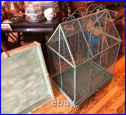 Vintage BIRD CAGE LARGE METAL OPENS STURDY WOOD BASE PARROT PETS 37tall AVIARY