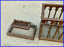 Vintage Bird Cage Brown Wood Victorian Style Dome Top House Removable Tray Door