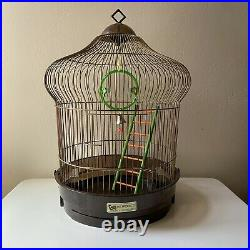 Vintage Bird Cage Metal Wire Complete Cottage Chic Retro Pet Made USA 18 x 12