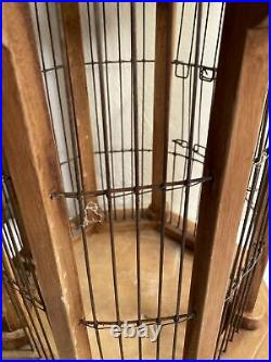 Vintage Bird Cage Wood Victorian Dome Cathedral Octagon White Wooden House