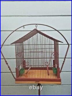Vintage Bird Cage with Hanging Stand
